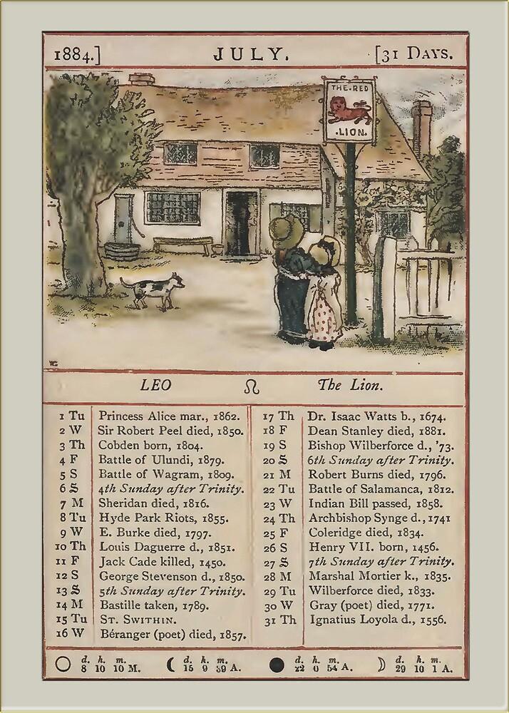 Greetings-Kate Greenaway July Almanac Page by Yesteryears