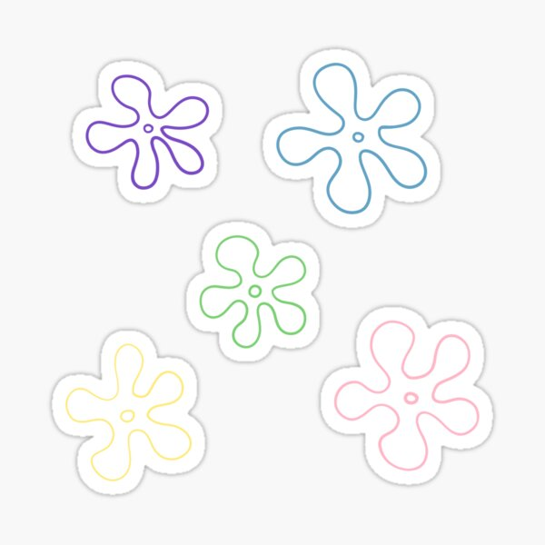 sponge bob flower pack Sticker