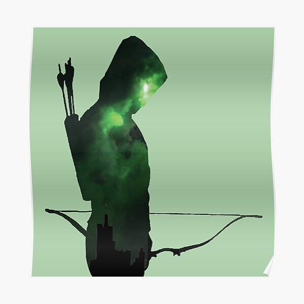 Silueta de flecha verde Póster