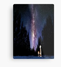 Calvin And Hobbes In The Night Metal Print