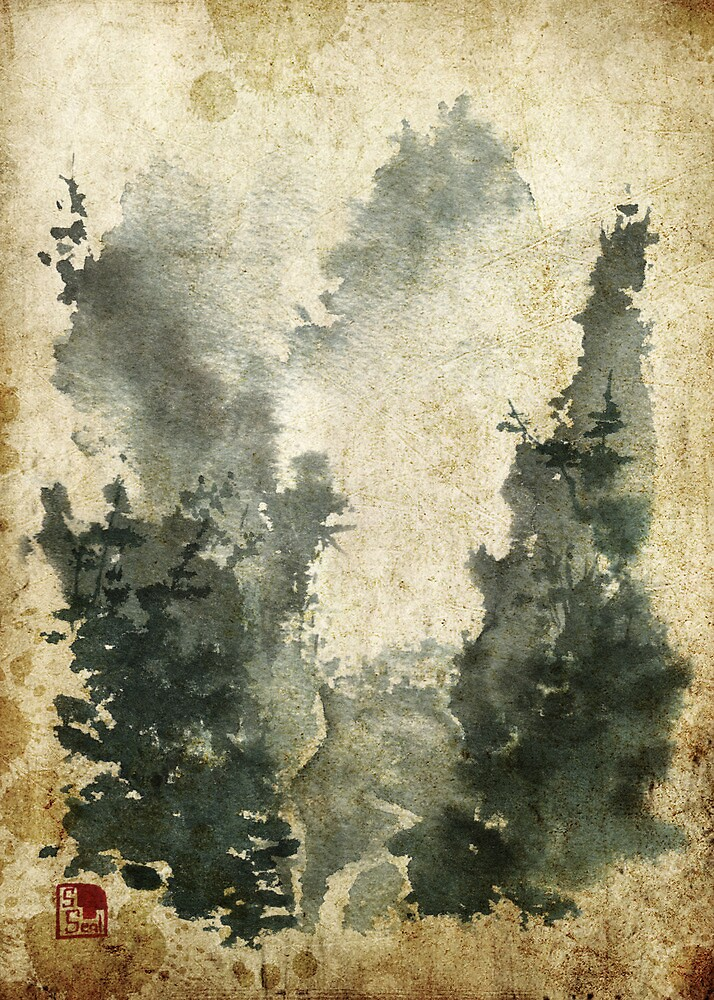 Chinese Watercolor Landscape Old by Sean Seal