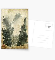 Chinese Watercolor Landscape Old Postcards