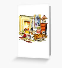 Calvin and hobbes waiting Christmas Greeting Card
