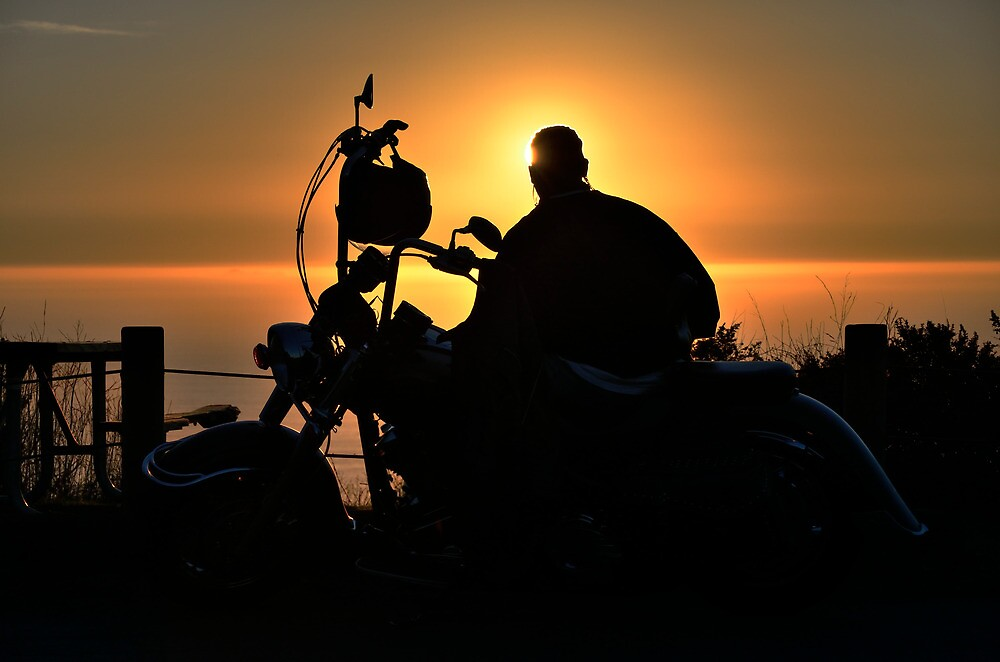 Quot Motorcycle Break At Sunset Quot By Roi Brooks Redbubble