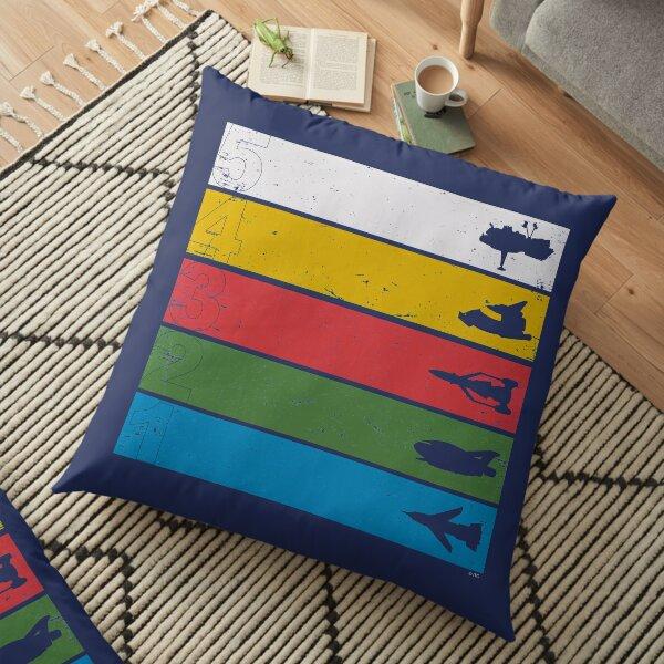 Thunderbirds Classic - Birds Silhouettes on Stripes Floor Pillow