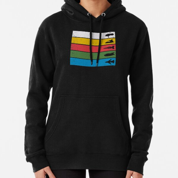 Thunderbirds Classic - Birds Silhouettes on Stripes Pullover Hoodie