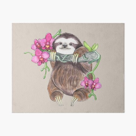 Happy Sloth with orchids Art Board Print