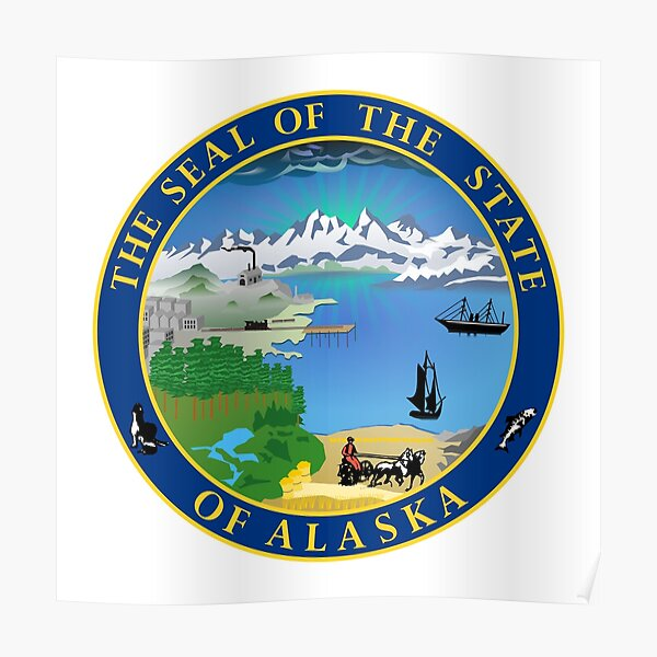 Alaska AK Official State Seal Poster
