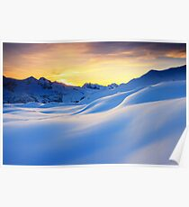 Sunset in the mountains in the Alps Poster
