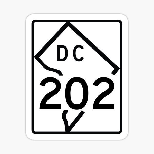Washington DC Route 202 (Area Code 202) Sticker