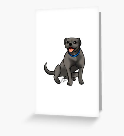 Pitbull - Black Greeting Card