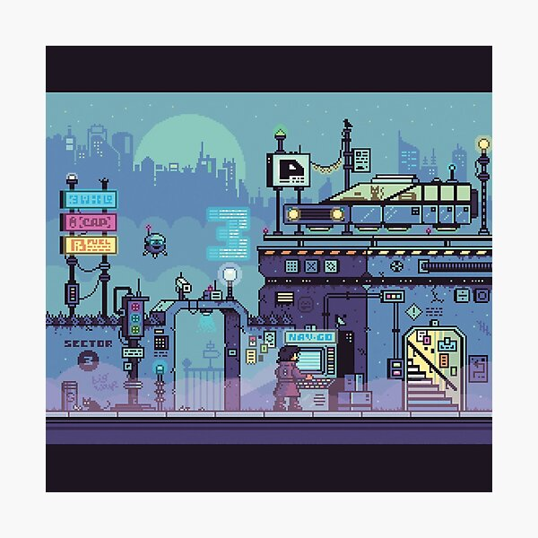 Cyberpunk Street (w/Black Border) Pixel Photographic Print