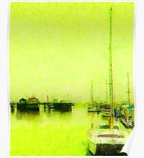 Yellow Mooring - Monterey Boat Harbor, Monterey , CA Poster