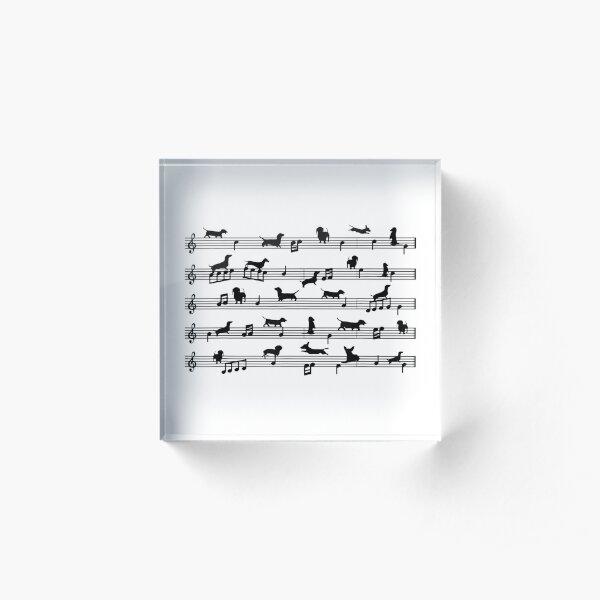 Music Notes Dachshund Dog Acrylic Block