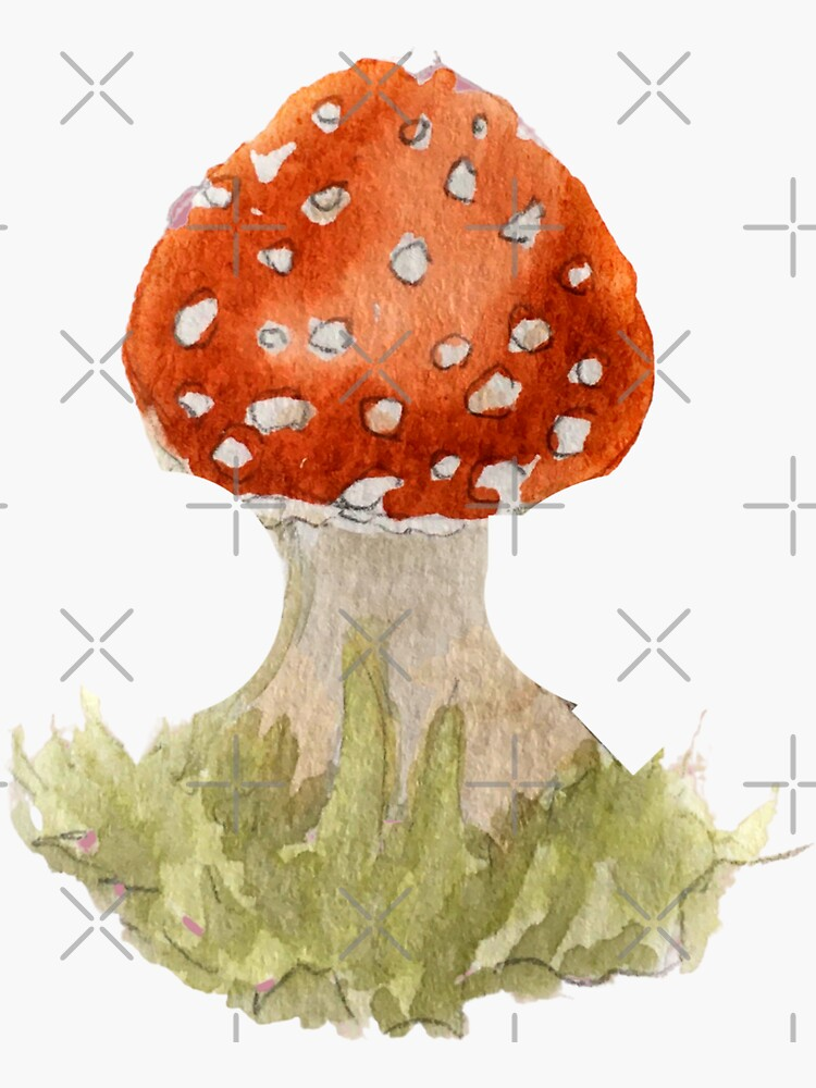 Red Fairy Mushroom in Watercolor  by WitchofWhimsy