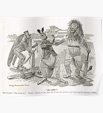 Ashes Cricket Punch cartoon 1899 W G Grace Poster