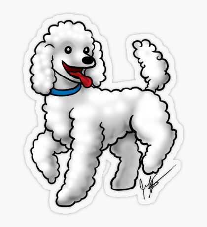 Poodle - White Transparent Sticker