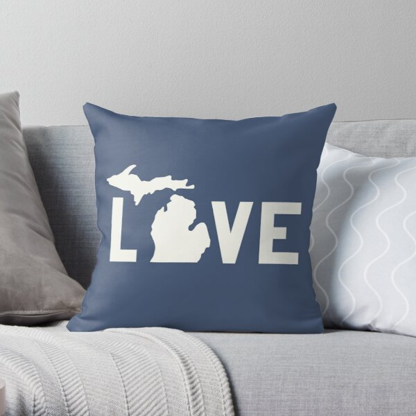 Michigan Love - All White Throw Pillow