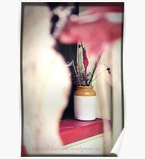 Clay Jar with dried flowers!  Poster