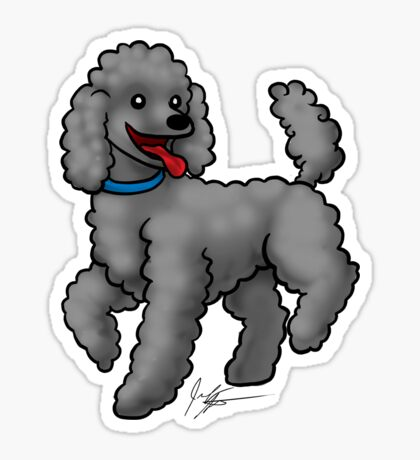 Poodle Black Glossy Sticker
