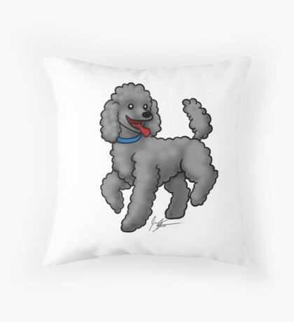 Poodle Black Throw Pillow