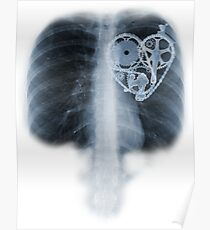 Póster BiKE LOVE X Ray componentes del corazón de la bicicleta