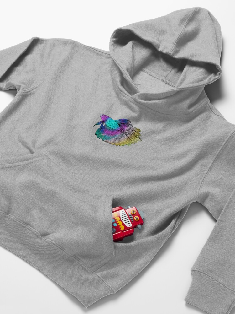 Alternate view of Rainbow Betta Fish Kids Pullover Hoodie