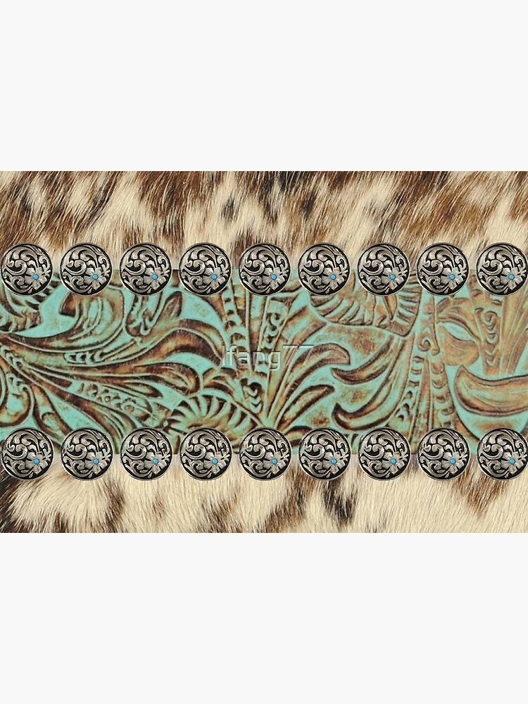 Rustic brown cowhide teal western country cowboy fashion by lfang77