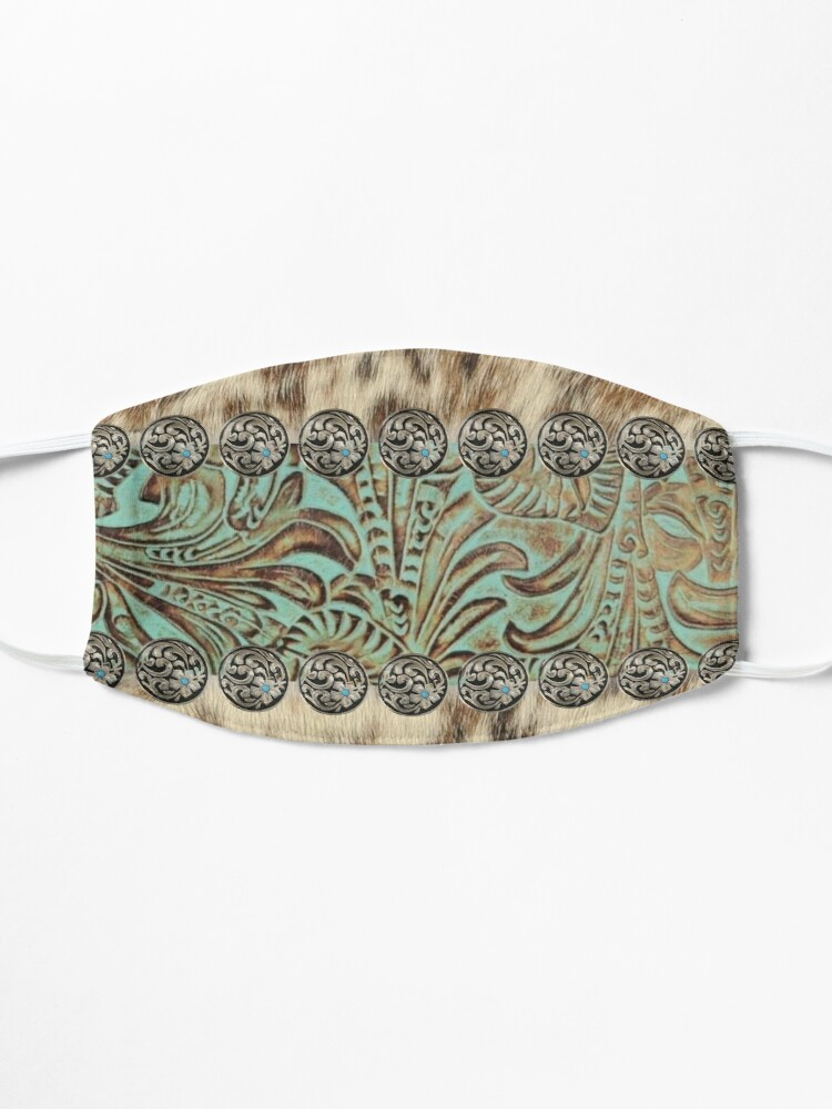 Alternate view of Rustic brown cowhide teal western country cowboy fashion Mask