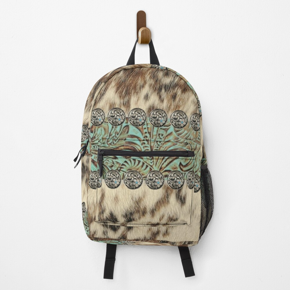 Rustic brown cowhide teal western country tooled leather  Backpack