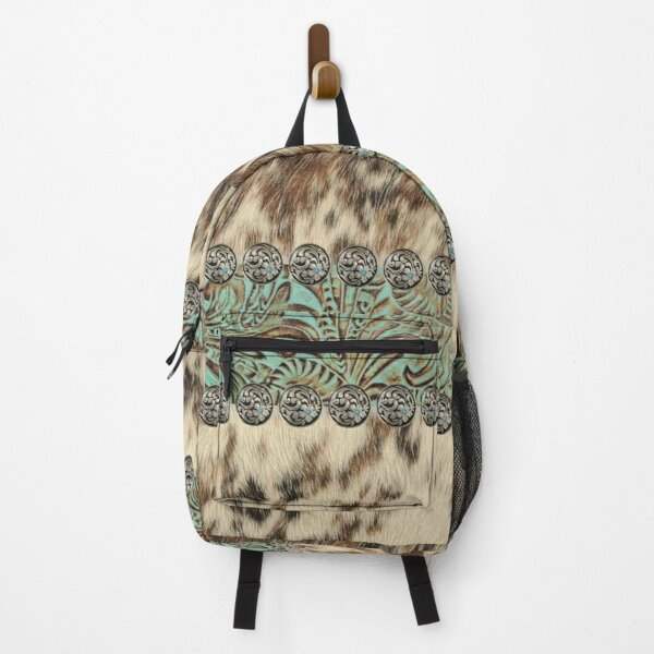 Rustic brown beige teal western country cowboy fashion Backpack
