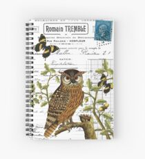 Owl on a branch digital collage with antique images Spiral Notebook