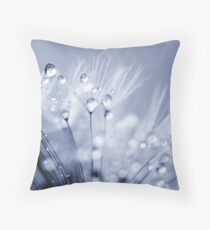 Dandelion Seed with Water Droplets in Blue Throw Pillow
