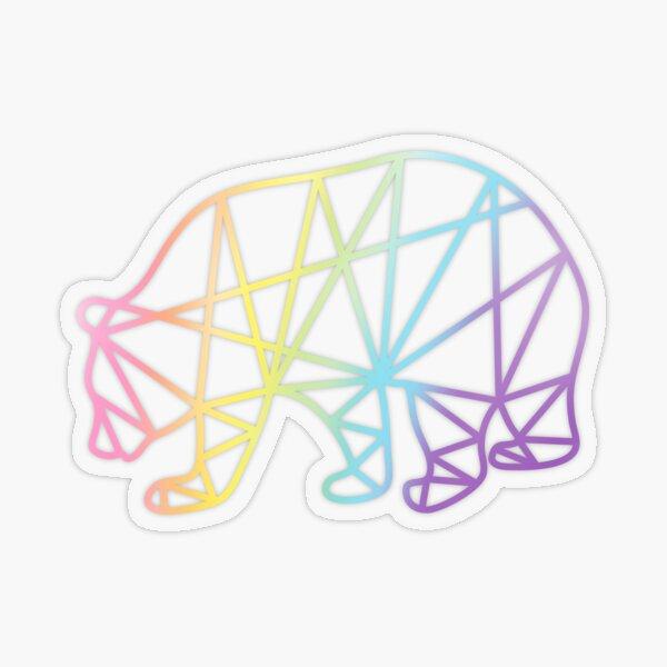 Rainbow Bear Geometric Sticker Transparent Sticker