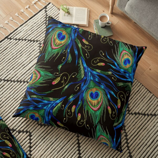 Embroidery peacock feathers Floor Pillow