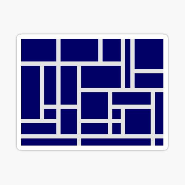 Navy Blue and White Rectangular Geometric Block Art Design Sticker