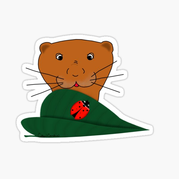 Oliver The Otter Studies a Ladybug Glossy Sticker