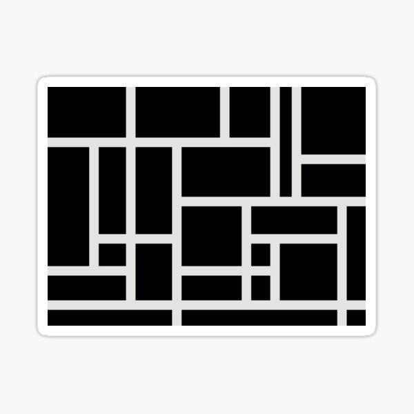 Black and White Rectangular Geometric Block Art Design Sticker