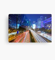 Busy traffic in Hong Kong at night Metal Print