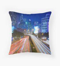 Busy traffic in Hong Kong at night Throw Pillow