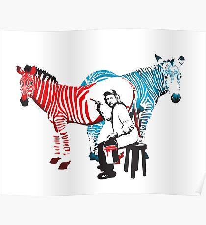 REMBRANDT ZEBRA PAINTING print Poster