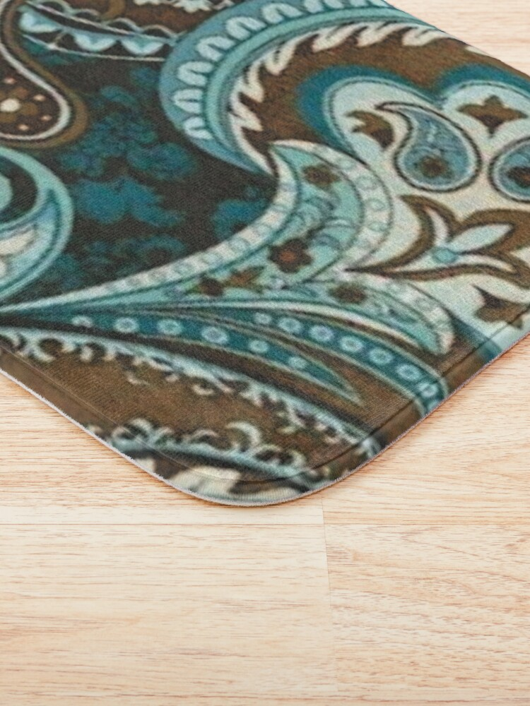 Alternate view of Turquoise Brown Vintage Paisley Bath Mat