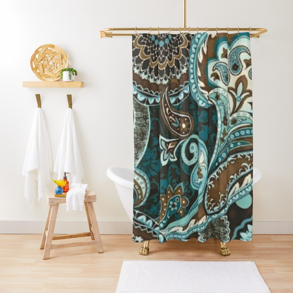Turquoise Brown Vintage Paisley Shower Curtain