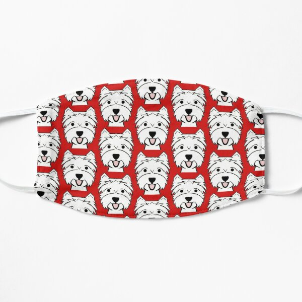 West Highland Terrier - Westies - Westie dogs - red background Westie dog breed Mask
