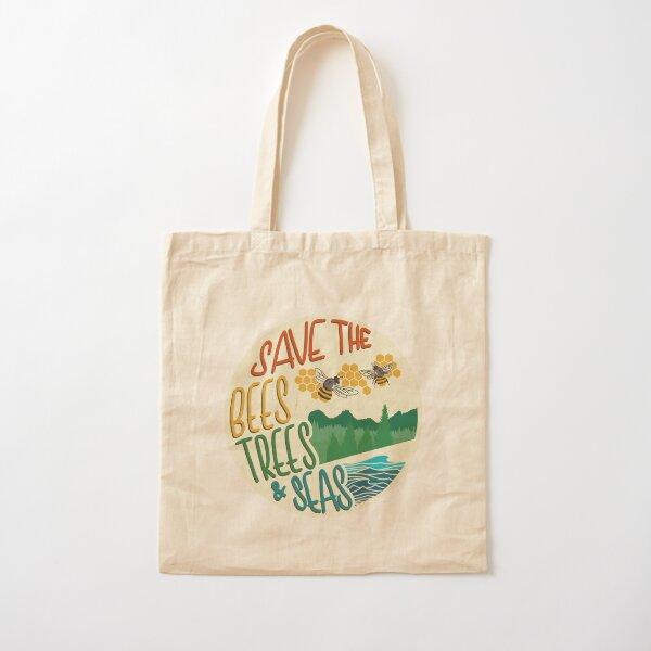 Save The Bees, Trees, & Seas   Retro Cotton Tote Bag