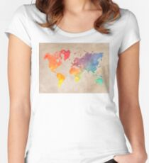 World Map maps Women's Fitted Scoop T-Shirt