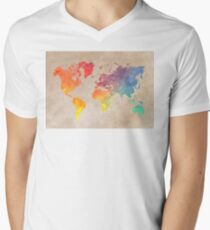 World Map maps Men's V-Neck T-Shirt