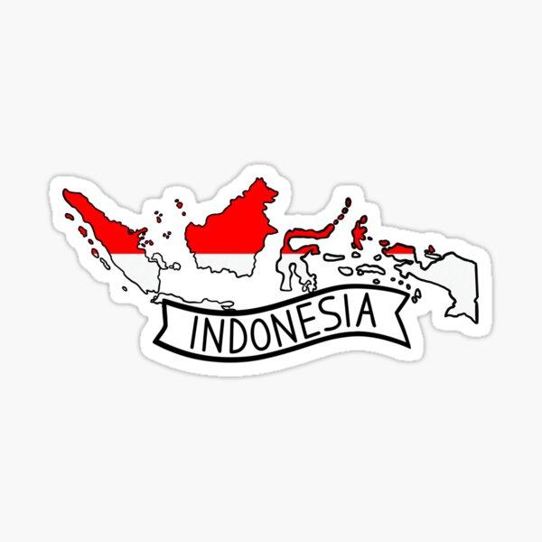 Indonesia Flag Map Sticker Sticker