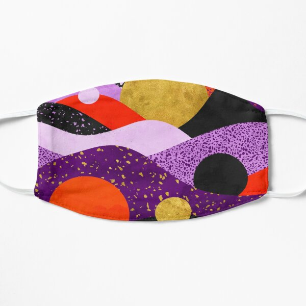 Terrazzo galaxy purple orange gold Flat Mask