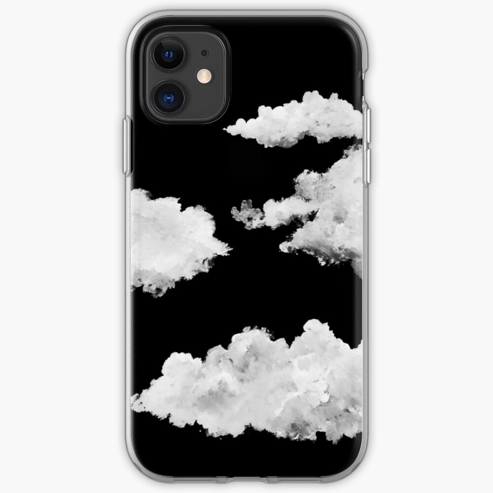 Small White Clouds With Black Background Iphone Case Cover By Ramparo93 Redbubble